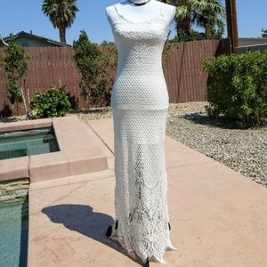 NWT White Eyelash Slit Maxi Dress